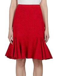 Lanvin Fluted Knit Skirt Red