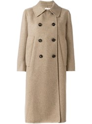 Marni Double Breasted Mid Length Coat Nude And Neutrals