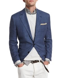 Brunello Cucinelli Plaid Two Button Sport Coat Sky Blue Men's Size 50 Skyblu