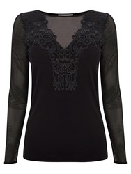 Coast Caitlyn Mesh Sleeve Top Black