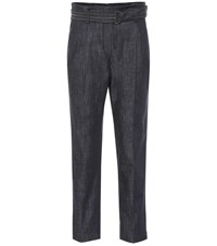 Brunello Cucinelli Belted High Rise Straight Jeans Blue