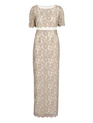 Gina Bacconi Scallop Flower Lace On Crepe Maxi Dress Beige
