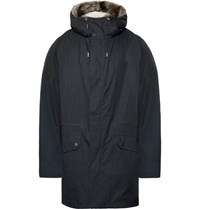 Yves Salomon Shearling Lined Cotton Blend Hooded Down Parka Navy