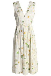 Isolda Pleated Floral Print Gathered Twill Midi Dress Off White Off White