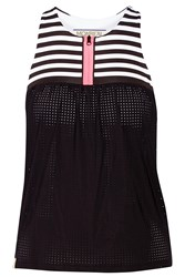 Monreal London Striped Stretch Jersey And Mesh Top