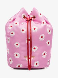 Miu Miu Pink Red And White Daisy Print Drawstring Pouch Pink And Purple