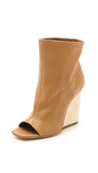 Vic Matie Wedge Open Toe Booties Camel