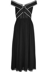 Topshop Unique Constance Off The Shoulder Tulle Gown Black