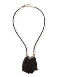 Topanga Leather Fringe Necklace Black Auden