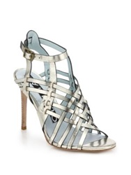 Dannijo Dian Metallic Leather Sandals Silver