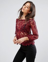 Parisian Parisan Crochet Off Shoulder Top Plum Purple