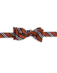 Brooks Brothers Striped Silk Bow Tie Orange