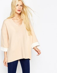Asos Jumper In Bonded Knit With Deep V Neck Nude