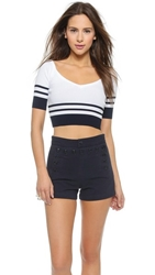 Red Valentino Ribbed V Neck Crop Top Navy White