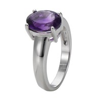 Ewa 9Ct White Gold Large Amethyst Ring White Gold
