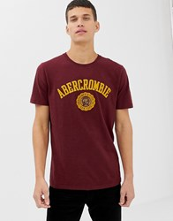 Abercrombie And Fitch Chest Applique Logo T Shirt In Burgundy Red