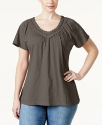 Jm Collection Plus Size Crochet V Neck Tee Only At Macy's Brown Clay
