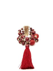 Rosantica By Michela Panero Colonia Bead And Tassel Wrap Bracelet Red