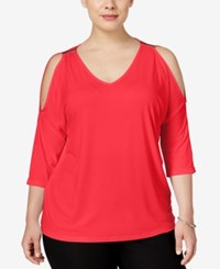 Inc International Concepts Plus Size Cold Shoulder Top Only At Macy's Hibiscus Bloom