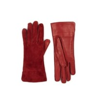 Barneys New York Suede And Leather Gloves Wine