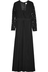 Alice By Temperley Macey Lace Paneled Crepe Maxi Dress Black