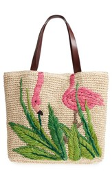 Nordstrom Flamingo Packable Woven Raffia Tote Brown Natural