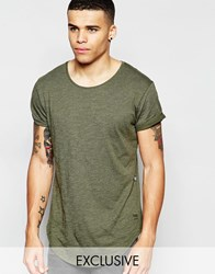 G Star G Star Be Raw Exclusive To Asos T Shirt Vontoni Longline Loose Fit Crew Washed Out In Green Green
