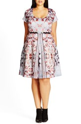 City Chic Plus Size Women's 'Reflections' Belted Print Scoop Neck Fit And Flare Dress