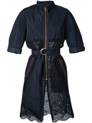 Kolor Belted Lace Panel Coat Black