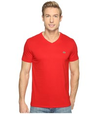 Lacoste Short Sleeve V Neck Pima Jersey Tee Shirt Red Men's Clothing
