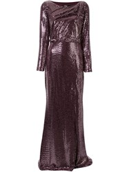 Badgley Mischka Sequinned Cut Out Back Gown 60