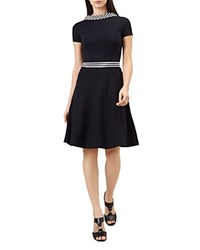 Hobbs London Betsy Striped Trim Fit And Flare Dress Navy