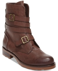 Dv8 By Dolce Vita Pinka Strappy Combat Boots Women's Shoes Dark Brown
