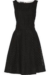 Rochas Mesh Paneled Embroidered Cotton And Linen Blend Dress Black