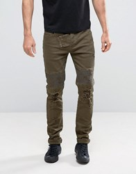 Sixth June Skinny Jeans With Distressing Khaki Green