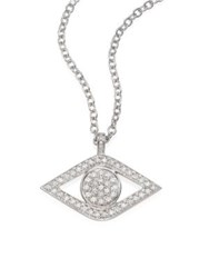 Sydney Evan Xl Luxe Evil Eye Diamond And 14K White Gold Pendant Necklace