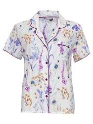 Cyberjammies Florence Print Pyjama Top Ivory Purple