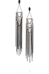 Maje Grappe Silver And Gunmetal Tone Earrings Metallic