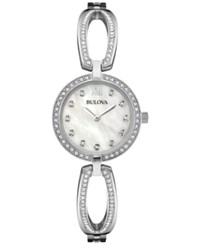 Bulova Women's Crystal Accent Stainless Steel Bangle Bracelet Watch 26Mm 96L223 Silver