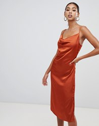 Missguided Strappy Cowl Midi Satin Dress In Rust Orange
