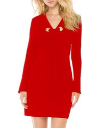 Donna Morgan Grommet Tie Long Sleeve Shift Dress Red