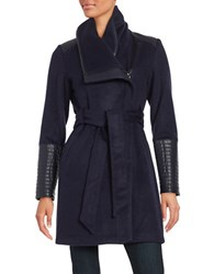 Belle By Badgley Mischka Faux Leather Trimmed Asymmetrical Coat Navy