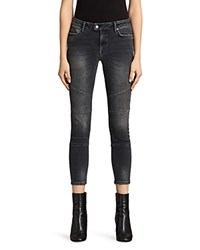 Allsaints Biker Cropped Jeans In Washed Gray Dark Gray