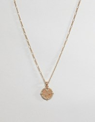 Asos Design Necklace With Vintage Style Roman Coin In Gold