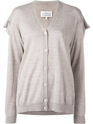 Maison Martin Margiela Draped Back Knit Cardigan Nude And Neutrals