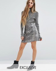 Reclaimed Vintage Frayed Hem Mini Skirt In Brocade Silver
