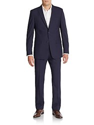 Michael Kors Regular Fit Tonal Plaid Wool Suit Dark Blue