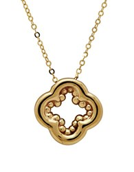 Lord And Taylor Gold Rush 14K Yellow Gold Polished Inner Beaded Clover Pendant Necklace