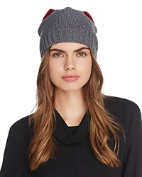 f46717abd3c7e Helene Berman Knit Bow Beanie Grey Red