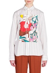 Marni Floral Button Front Shirt Indian Orange